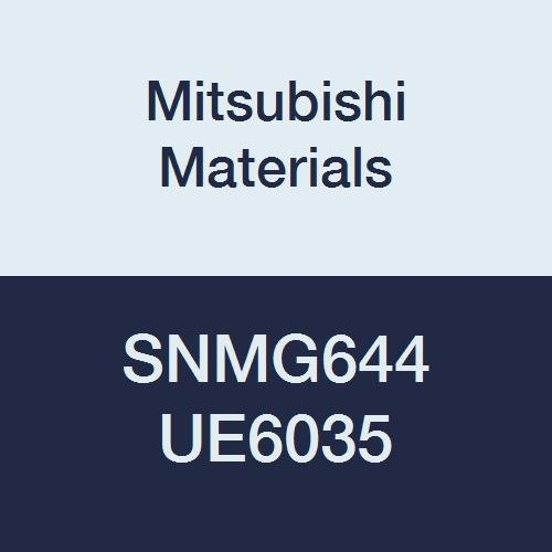 Mitsubishi Materials SNMG644 UE6035 Carbide SN Type Negative Turning Insert with Hole, Unstable Cutting, Coated, Square, 0.75 IC, 0.25 Thick, 0.063 Corner Radius, Standard Breaker (Pack of 10)