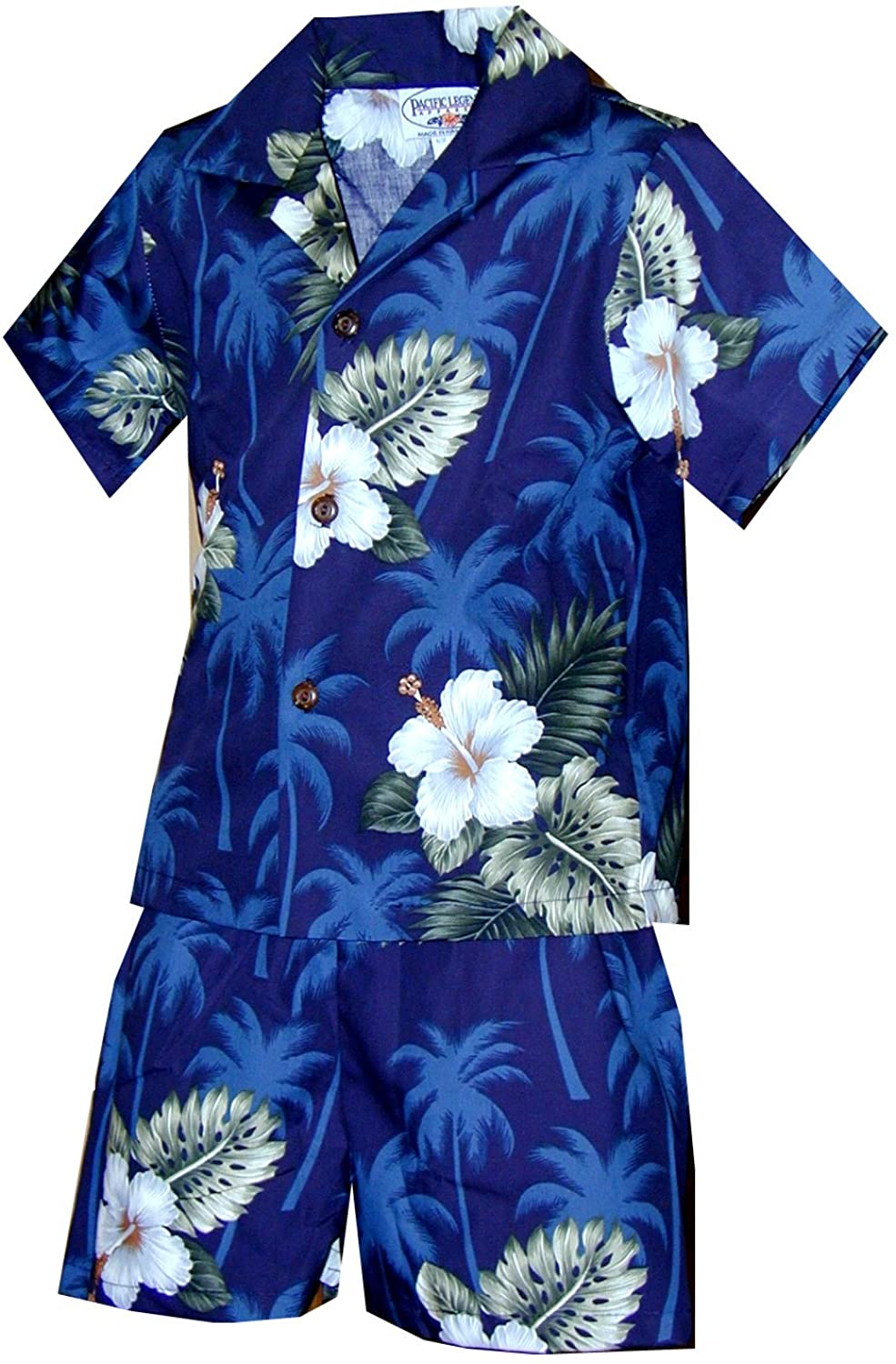 Pacific Legend Boy's White Hibiscus Monstera Toddler 2pc Set