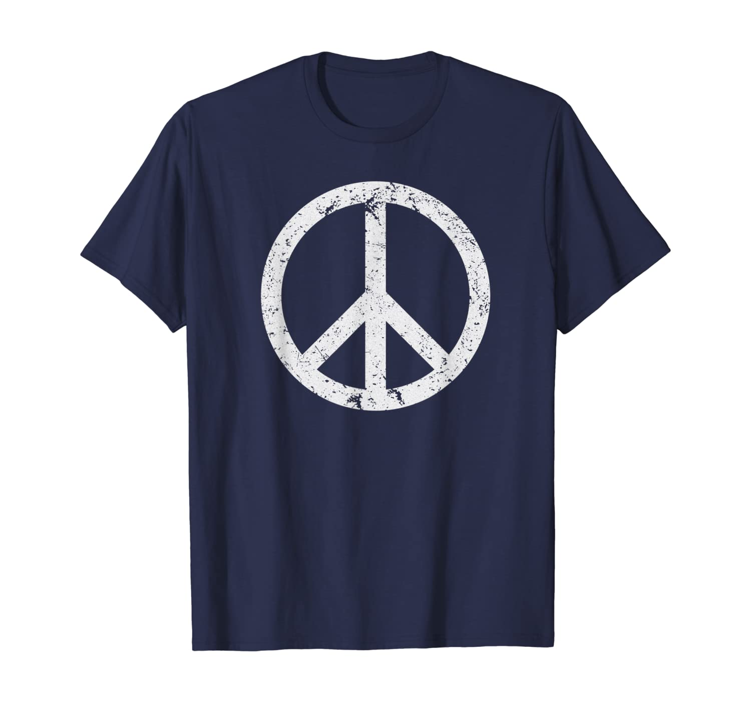 Vintage Peace Sign White Distressed T-shirt