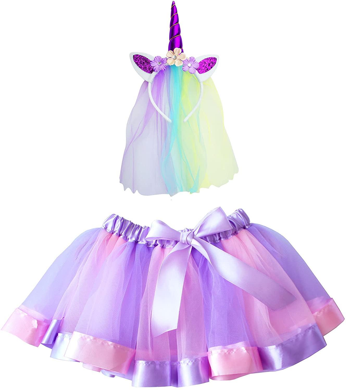 Rainbow Tutu Skirts Unicorn Headband Little Girls - Unicorn Costumes