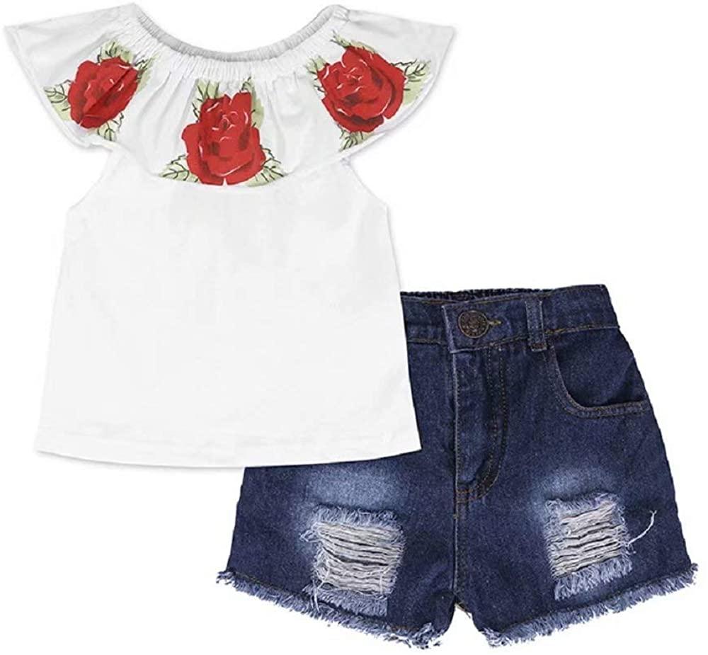 Hooyi Toddler Girls 2Pcs Summer Outfit Sets Off Shoulder Flower Shirt Rose Print Tops+Hole Denim Shorts