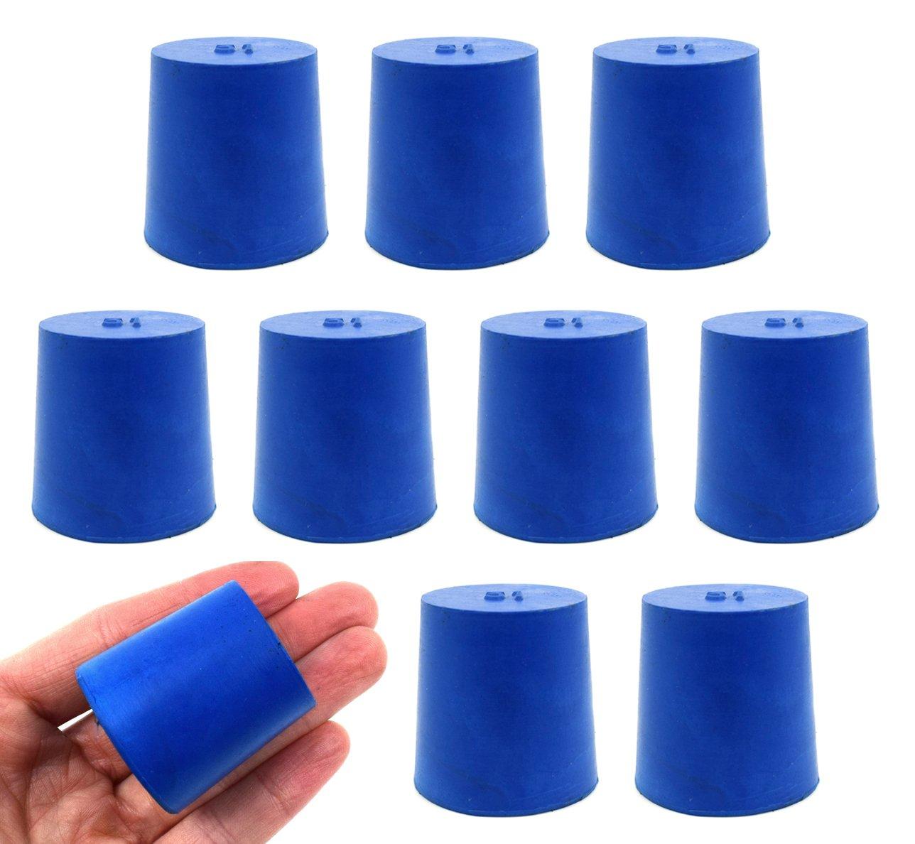 Neoprene Stopper Solid - Blue, Size: 31mm Bottom, 36mm Top, 35mm Length - Pack of 10