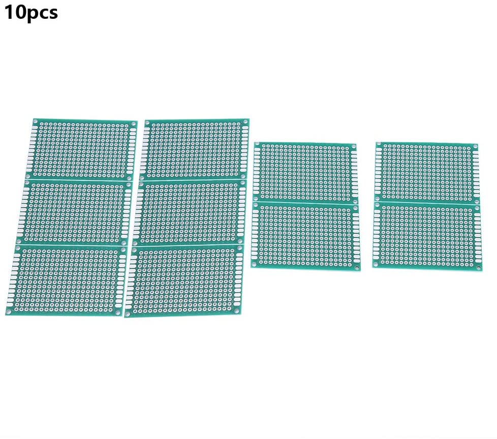 10PCS 4×6cm Breadboard Hole Pitch 2.54mm Thickness 1.6mm Hole Diameter 1.0mm±5% Double Side Prototype PCB Tinned Universal Circuit Board for Raspberry Pi and Arduino DIY Electronics kit