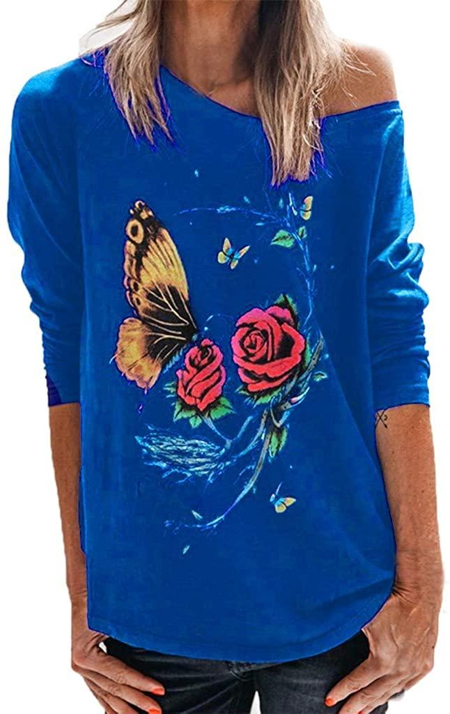 Women Long Sleeve Sweatshirt Top Butterfly Flower Print Pullover O-Neck T-Shirt