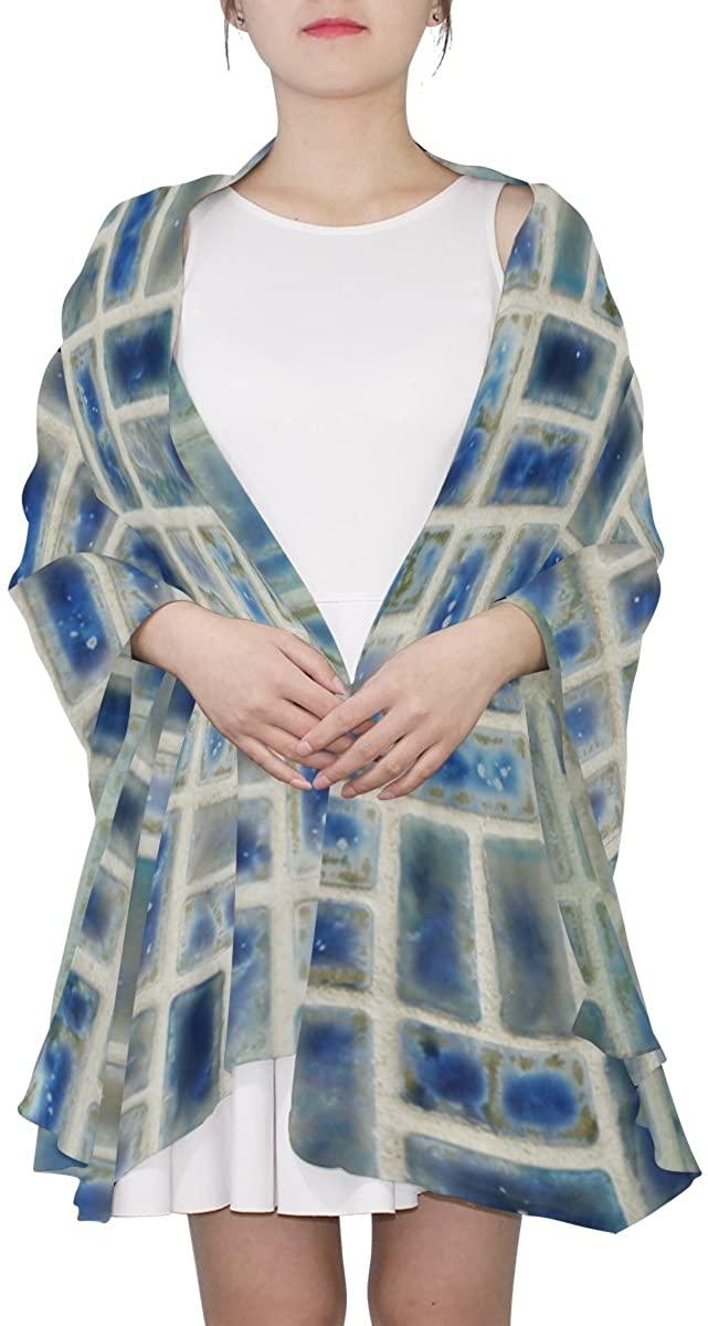 thel Ernest Womens Silk Scarf Mosaic Tile Neptune Blue Porcelain Design Lightweight Shawl Soft Long Scarves
