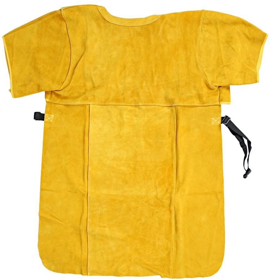 Cow Split Leather Welding Apron, Fireproof and Heat Insulation Protective Apron, Heat Fire Retardant Welding Apron Jacket Open Back - Golden(XXL)