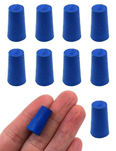 Neoprene Stopper Solid - Blue, Size: 9mm Bottom, 11.5mm Top, 20mm Length - Pack of 10