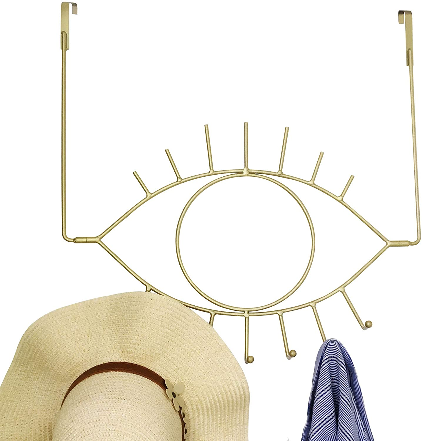 MsFun Angel Eye Over The Door Hook Organizer - Quantity 2-7 Hooks Available - Hang Coats Shirts Hat Purses Pants - Sturdy Iron Built (Gold)