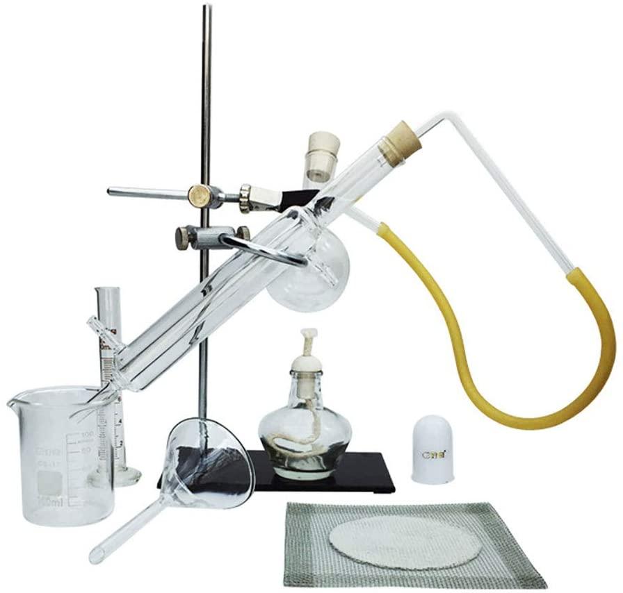MKULOUS Small Distillation Set, Laboratory Distillation Device Essential Oil Refining Glassware Kits(Iron Stand + Distillation Flask + Condenser)
