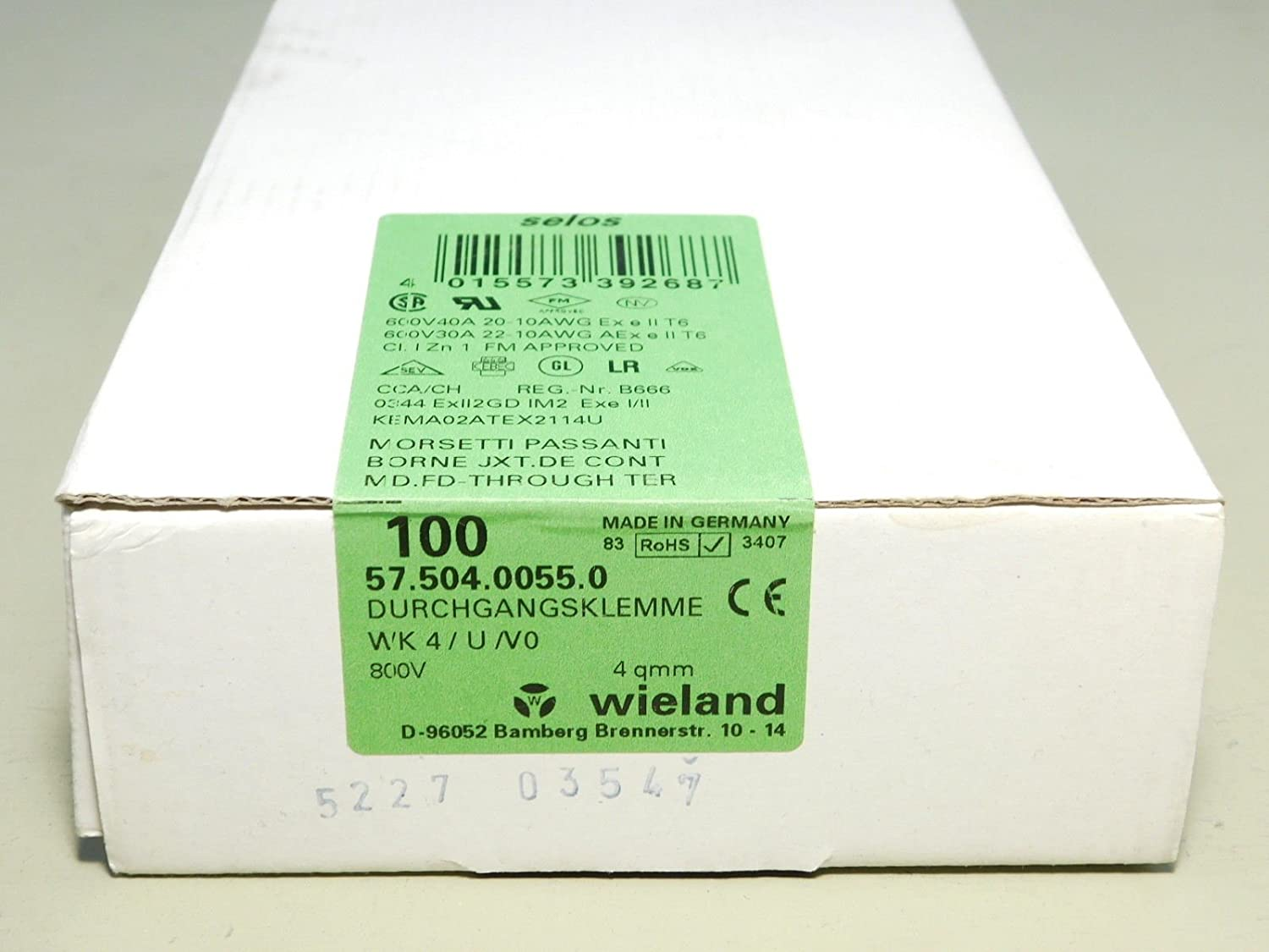 (100) BRAND NEW - BOX OF 100x PCS Wieland Selos 57.504.0055.0 Terminal Blocks