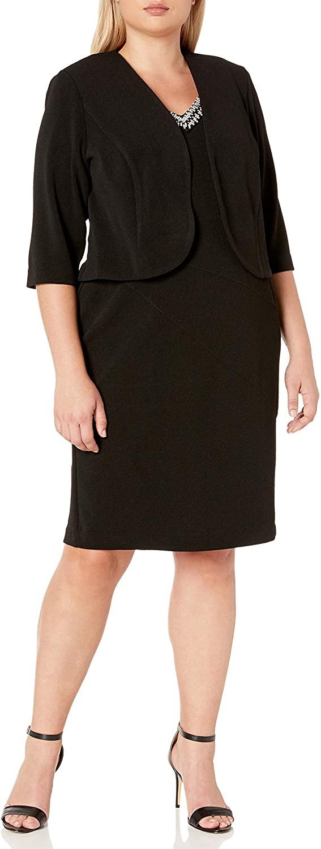Maya Brooke Women's Embellished V Neckline Jacket Dress
