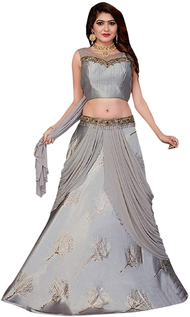 Stylish Purple Lycra Skirt Top Party Dress Women Lehenga Chaniya Sequin Choli Bridesmaid 9716