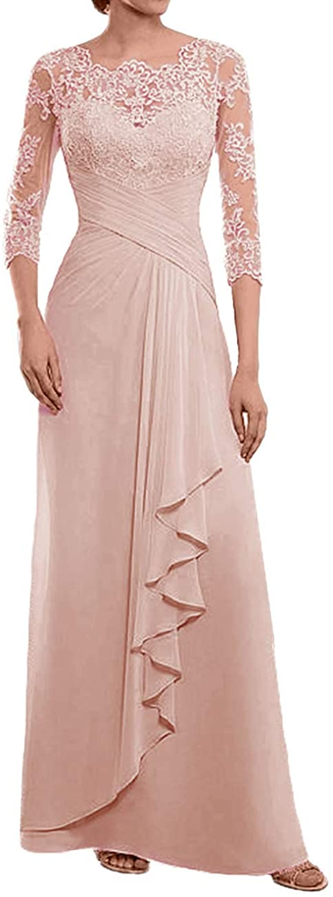 Mother of The Bride Dress Lace Appliques Evening Dresses Pleated Formal Gowns 3/4 Sleeves Sheer Back