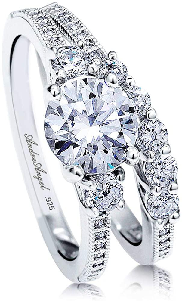 Engagement Ring Set Wedding 100% Solid Sterling Silver 925 Rhodium Plating Cubic Zirconia Stones AAAAA+ Alternative to Diamonds 1.25 Carat Anniversary Valentine Promise (Design Angele)