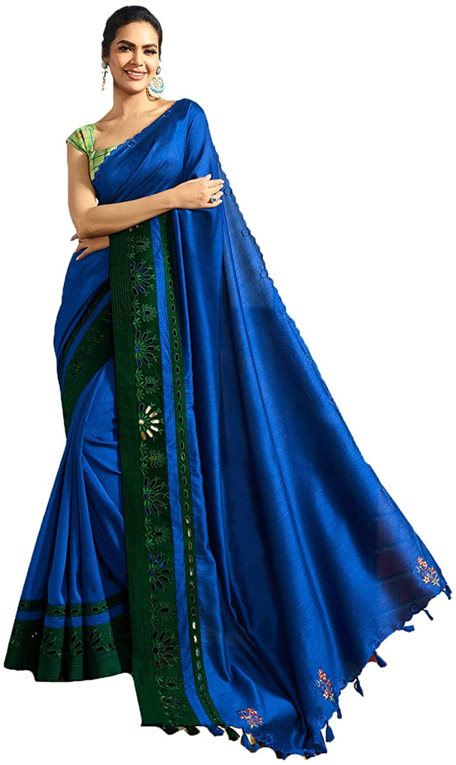 Saree for Women Bollywood Wedding Designer Blue Sari with Unstitched Blouse. ICW2523-13