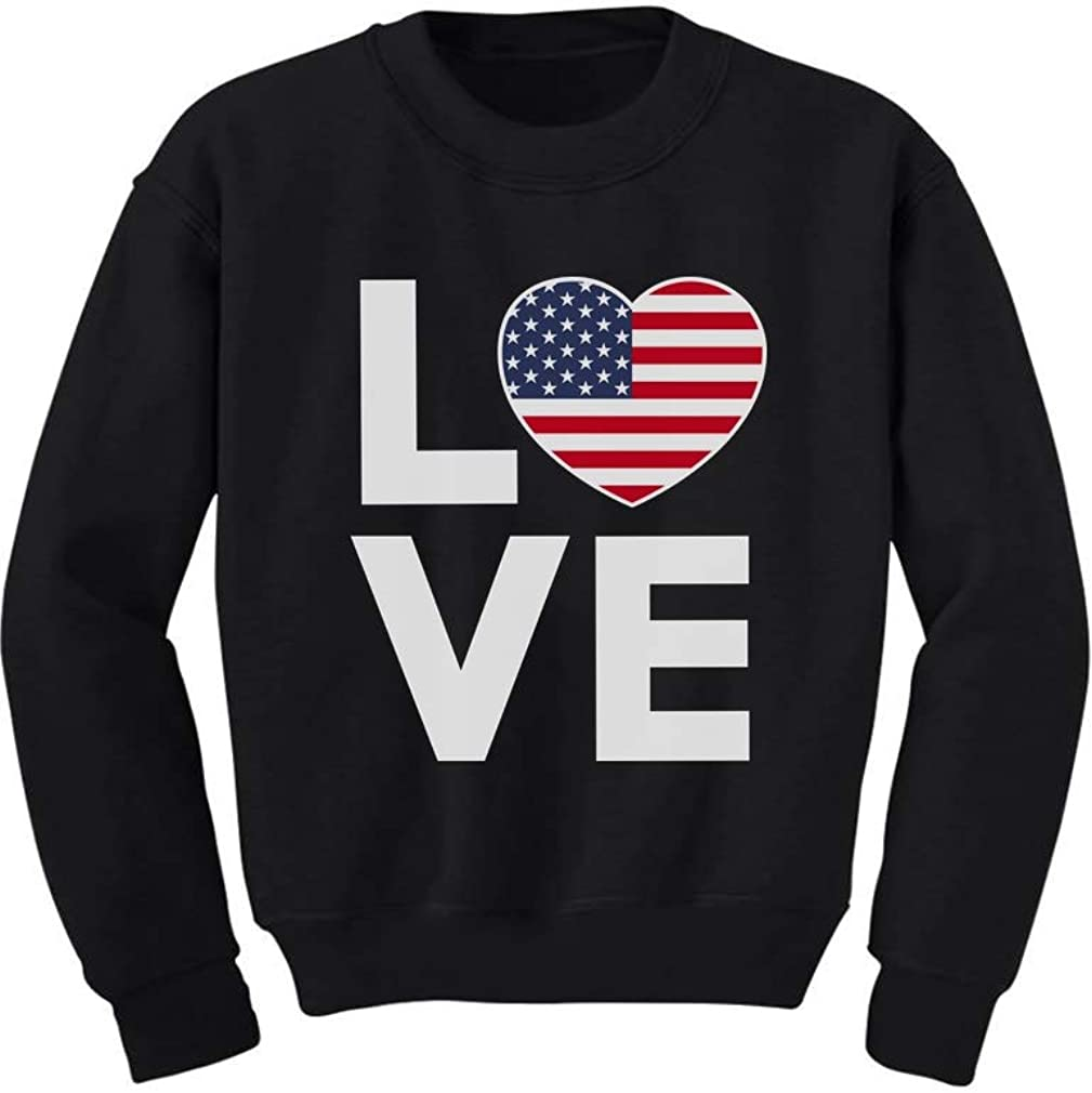 4th of July Top Love USA Heart Flag Patriotic Youth Kids Sweatshirt