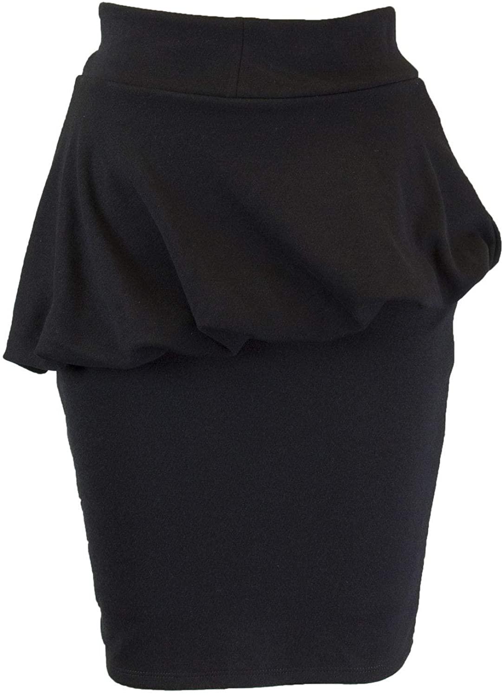 Analili Womens Peplum Mini Skirt, Black, X-Small