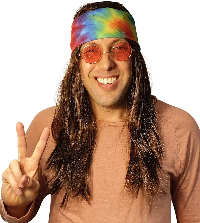 Hippie Dark Brown Wig Costume with Tie Dye Bandana, Dark Brown, Size One Size