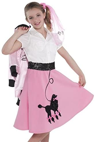 amscan Fabulous 50S Costume Party Poodle Skirt - Child Standard, Pink, Fabric, 14 X 21 3/4, 1Piece Costume