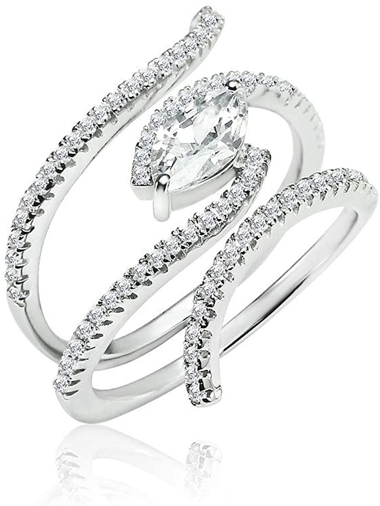 SOLIDSILVER- Sterling Silver Crystal Clear CZ Egyptian Eye Style Double Row Ring | Sizes 6-9