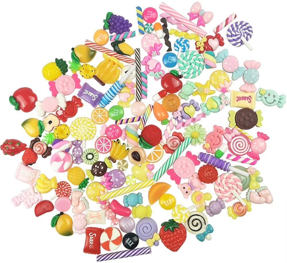 130pcs Slime Charms Cute Set Charms for Slime Assorted Fruits Candy Sweets Fatback Resin Cabochons for Craft Making Ornament Scrapbook DIY Crafts