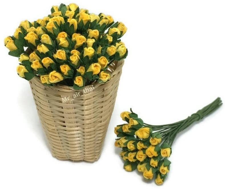 1 Bundle of 50 Yellow Tiny Rose Mulberry Paper Flower Scrapbook Craft 5mm Card Wedding Dollhouse