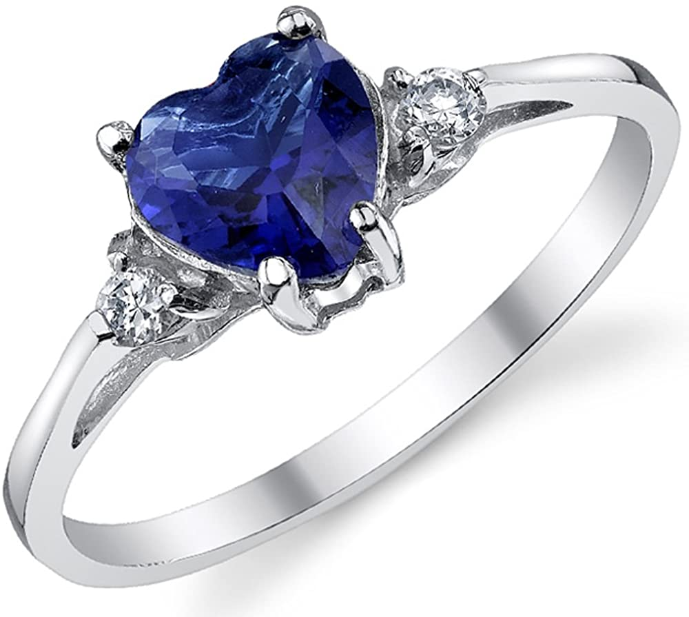 Sterling Silver 925 Blue Simulated Sapphire Color Cubic Zirconia Love Engagement Ring