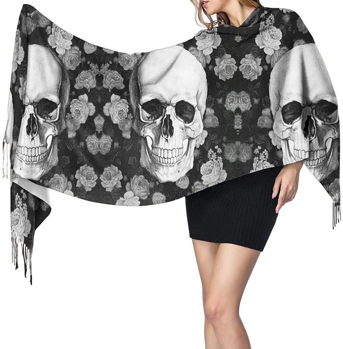 Rose Skull Women's Winter Warm Scarf Fashion Long Large Soft Cashmere Shawl Wrap Scarves