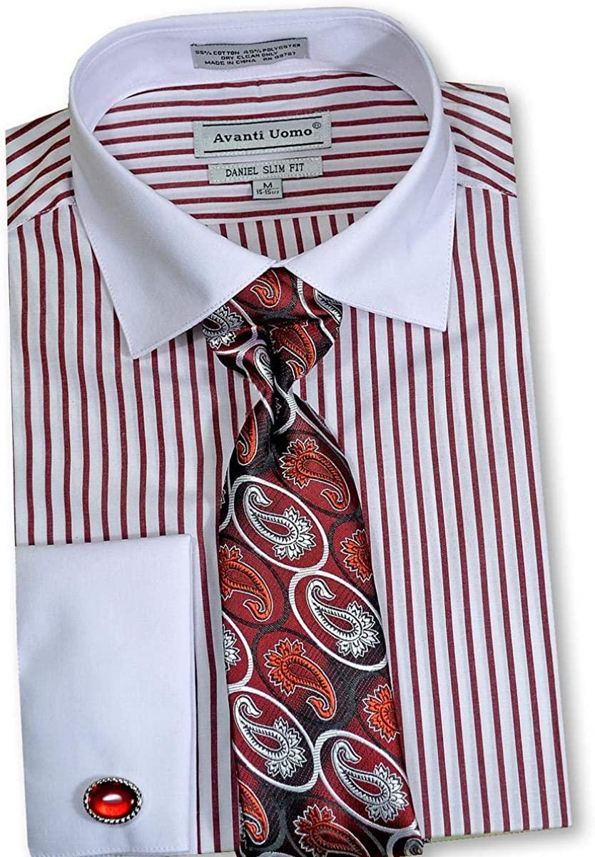 Avanti Uomo Men's Long Sleeve Dress Shirt Tie Cuff Link DNS02