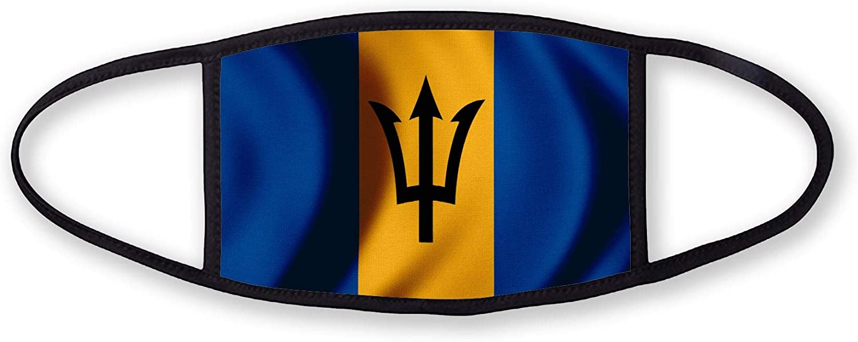 3-Layer reusable/washable Facemask - Flag of Barbados (Barbadian) - Bricks Design