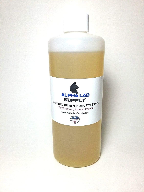 Alpha Lab Supply - 12oz (360mL) Grape Seed Oil 100% Filtered Expeller Pressed, USP