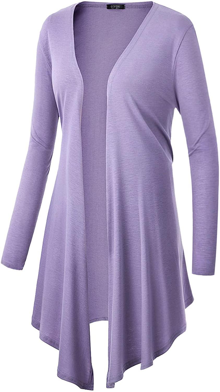 GIVON Womens Casual Long Sleeve Lightweight Irregular Hem Open Front Breathable Cardigans