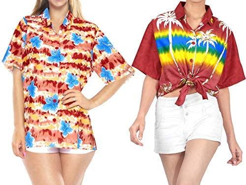 LA LEELA Women's Plus Size Hawaiian Shirt Aloha Shirt Beachwear Outfit Work from Home Clothes Women Beach Shirt Blouse Shirt Combo Pack of 2 Size Medium
