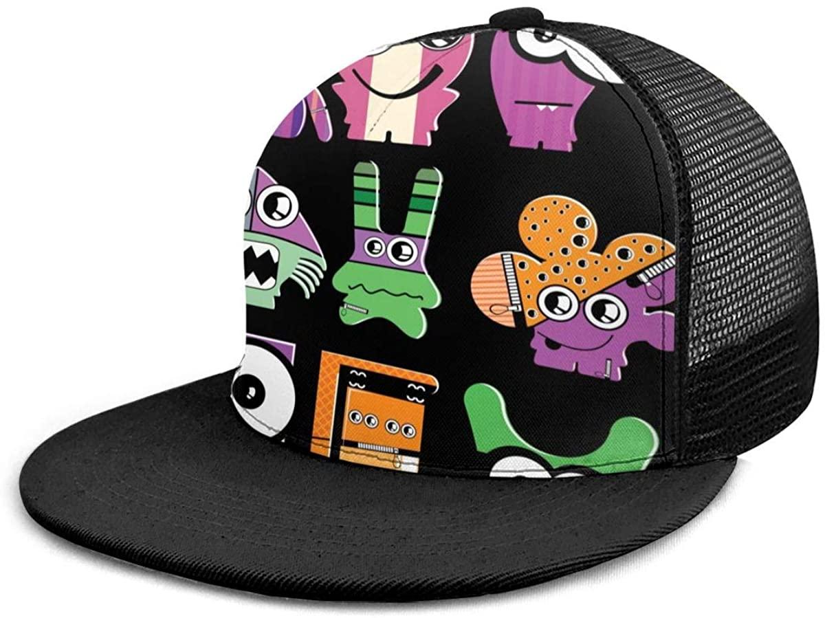 SLHFPX Snapback Hat Cute Cartoon Funny Monsters, Black Baseball Cap Flat Brim Sun Visor Hat for Women Men