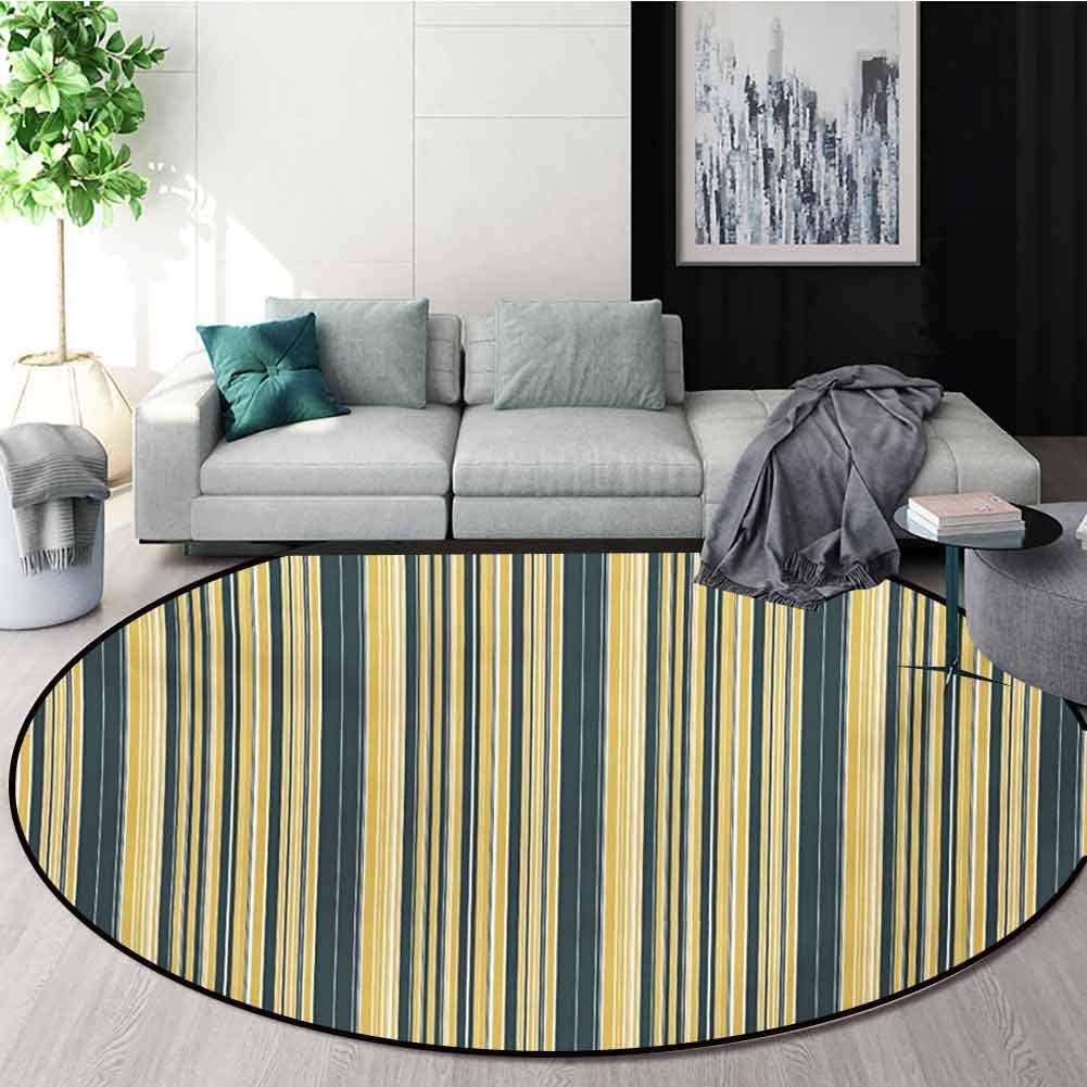 RUGSMAT Geometric Modern Machine Round Bath Mat,Barcode Style Pattern in Retro Colors Straight Parallel Vertical Lines Non-Slip No-Shedding Kitchen Soft Floor Mat,Diameter-24 Inch
