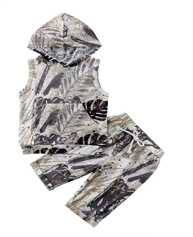 Scfcloth Newborn Baby Boys Infant 2pcs Stripe Sleeveless Hoodie + Shorts Clothing Sets Summer Outfits