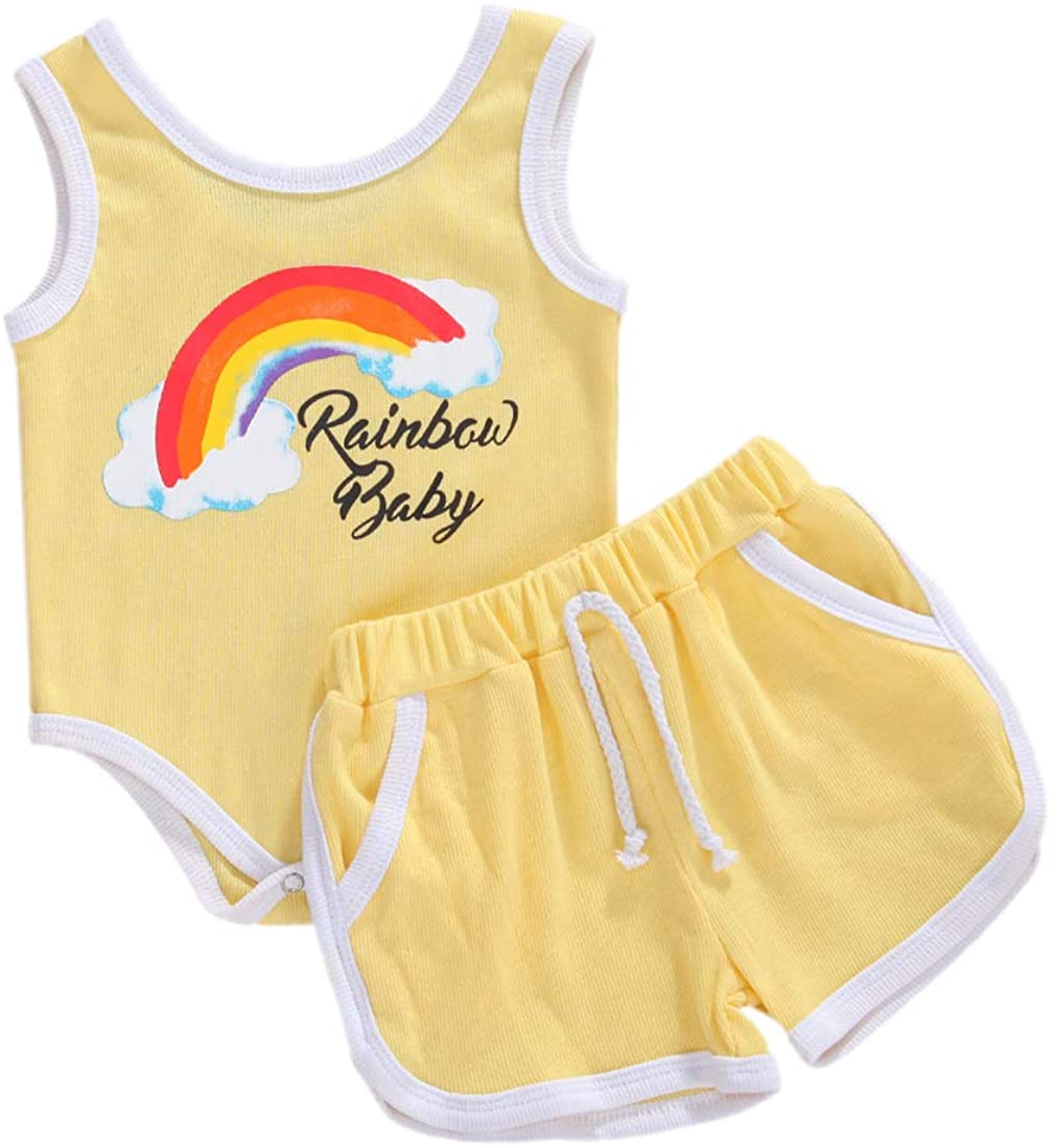 Newborn Rainbow Outfit Infant Baby Girl Letter Print Romper Tank Top + Drawstring Shorts Pants 2PCS Summer Clothes
