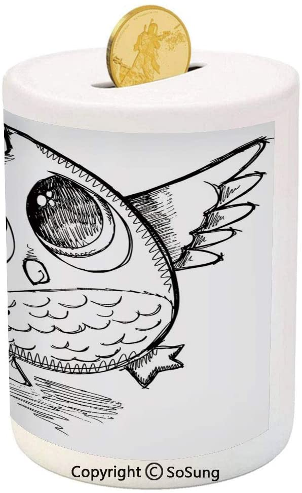 Doodle Ceramic Piggy Bank,Sad Owl Almost Crying with Big Eyes Cartoon Sketch Crybaby Hand Drawn Illustration Decorative 3D Printed Ceramic Coin Bank Money Box for Kids & Adults,Black White