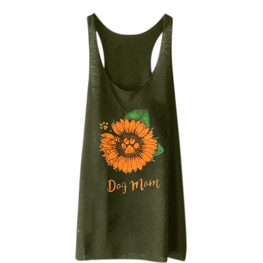 TWGONE Dog Mom Shirts for Women Sunflower Vest Loose Sleeveless Tank Sport Pullover Tunic Tops