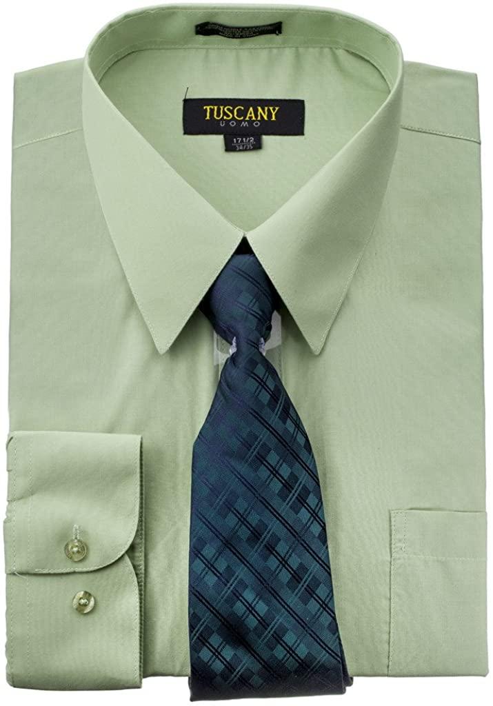 Men's Solid Long Sleeve Button Down Dress Shirt Tie Combo Set