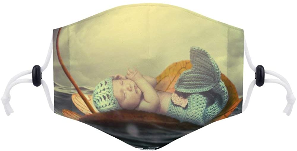 Face Protection (with Two Filters) Custom Photo Child Baby Water Wave Sea Mermaid Cute Young Face Protection Unisex Adjustable Breathable Dustproof Mouth Cover