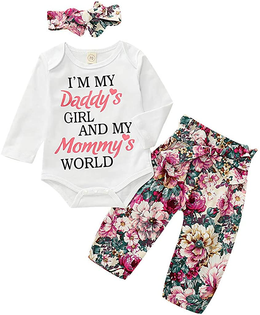 Baby Girl Clothes Toddler Letter Print Tops T-Shirt+Floral Pants+Headbands Outfits Sets