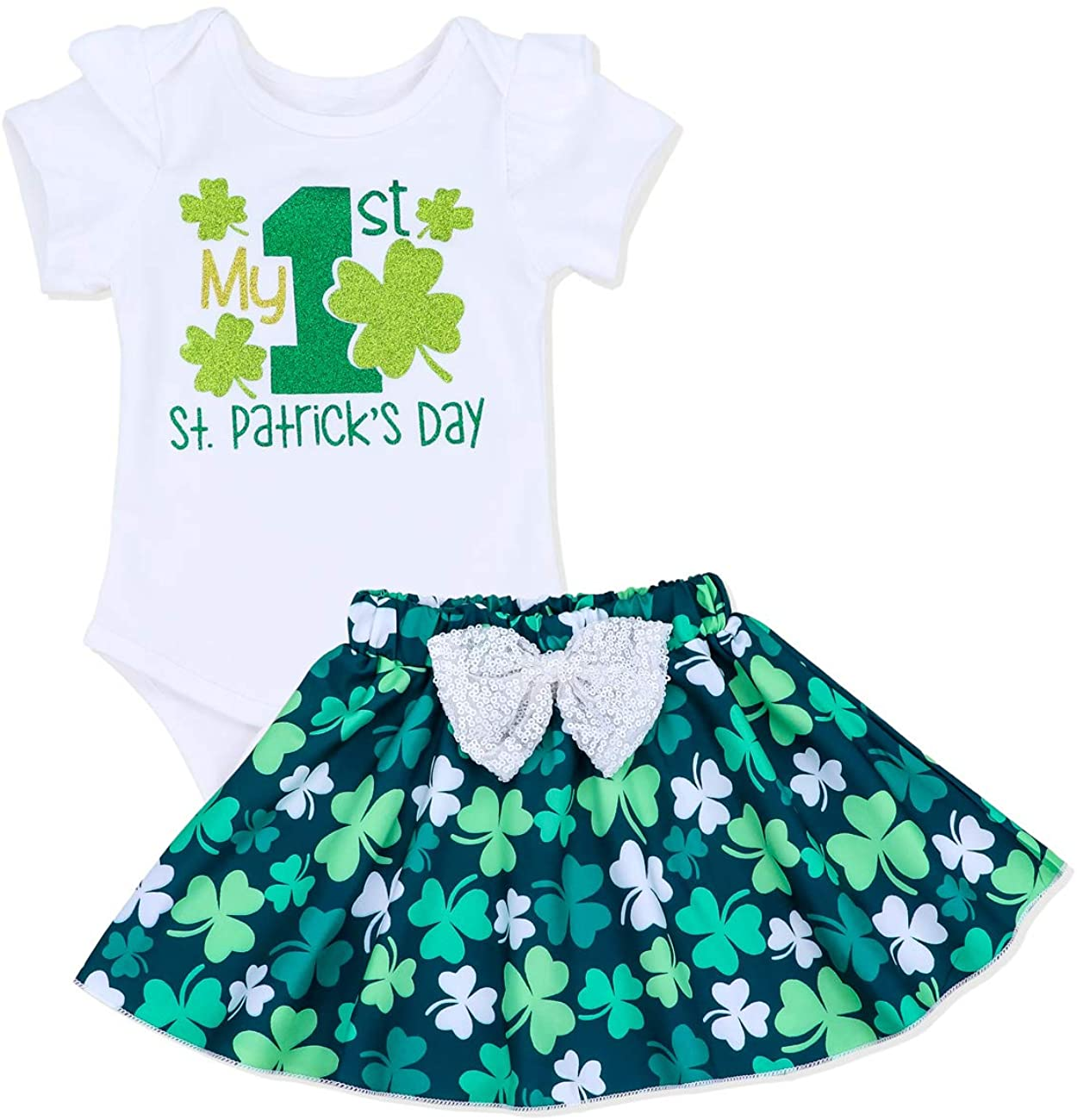 Newborn Baby Girl Clothes Summer Clothing Outfit Lucky Four-Leaf Clover Romper + Short Skirt 2Pcs Outfit Set