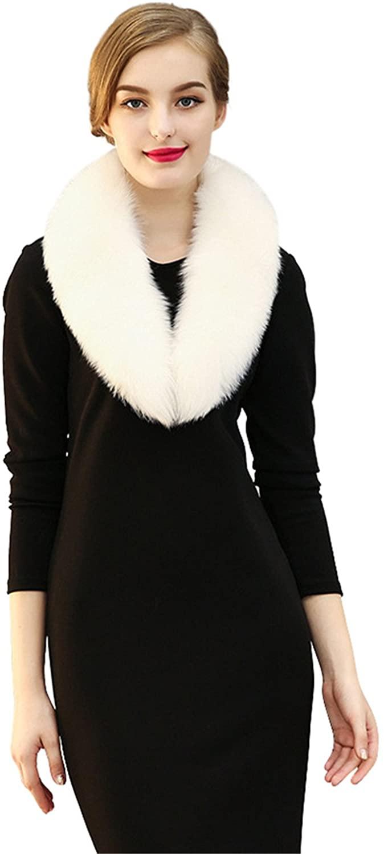 LITHER Women Elegant Faux Fox Fur Collar Scarf Shawl Collar Wrap Scarves