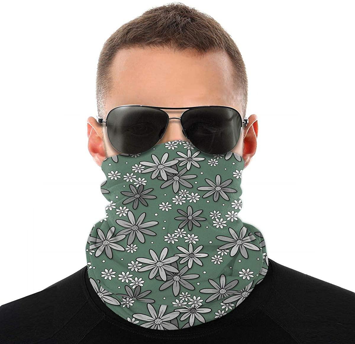 Happy Floral Green Novelty Neck Gaiter Unisex Adult Windproof Mask Dust Sports Face Mask Half Balaclava Weather Bandana Women Men Outdoors Festivals