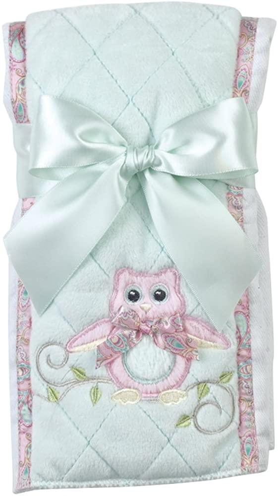 Bearington Baby Lil Hoots Owl Pink and Teal Burp Cloth, 14