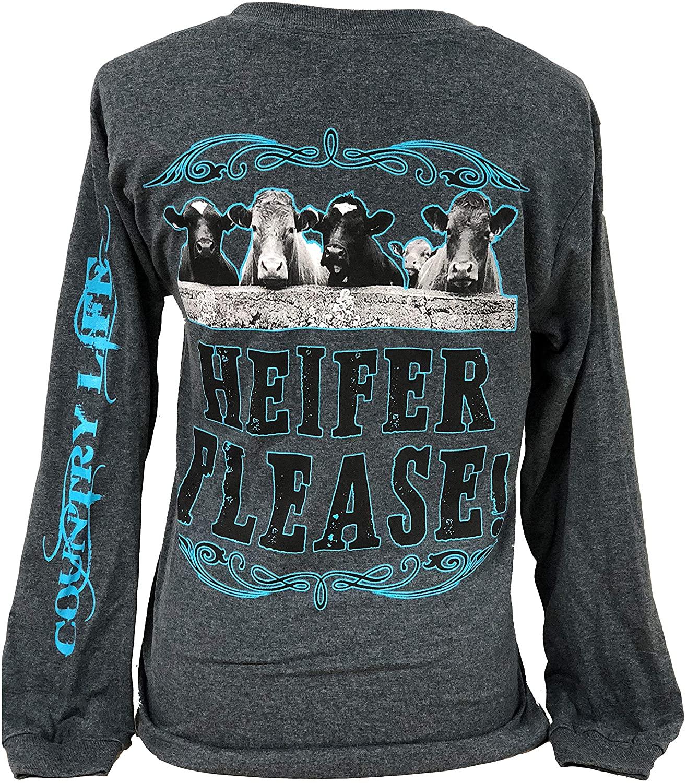 Country Life Heifer Please Cows Gray and Aqua Women's Long Sleeve Shirt
