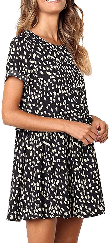 Maysoar Womens Summer Casual Dresses Loose Fit Short Sleeve Beach Dress