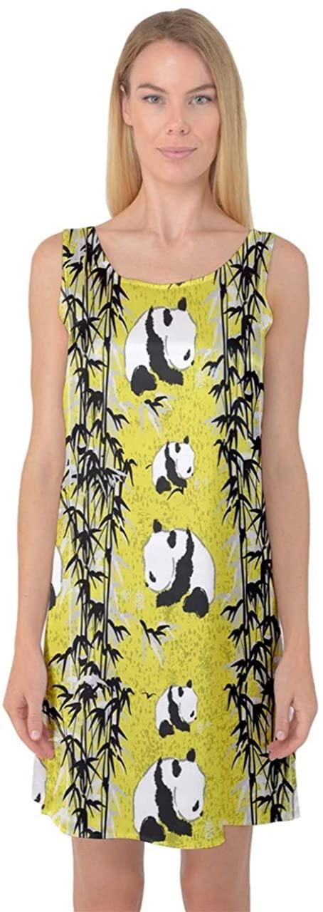 CowCow Womens Nightgown Set of Cartoon Funny Panda on A Blue Animal Sleeveless Satin Nightdresss
