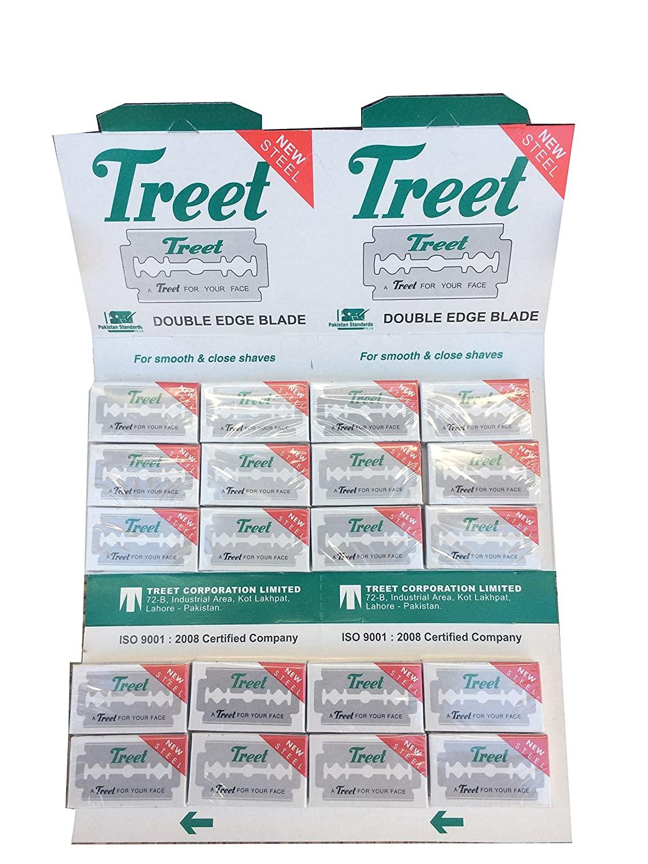 Treet New Steel Double Edge Safety Razor Blades, 200 blades (20x10)